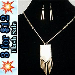 S201 Trendy Gold Geo Drop & Bar Necklace Set